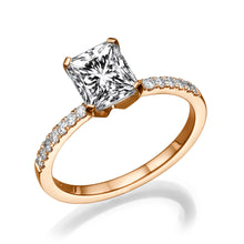 "Load image into Gallery viewer, 2.1 Carat 14K Rose Gold Moissanite & Diamonds ""Erika"" Engagement Ring"