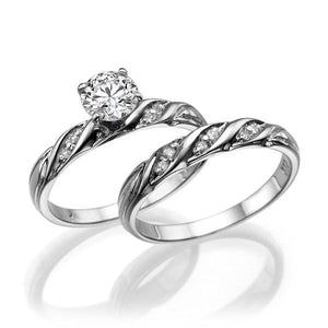 Round Moissanite Bridal Set - Diamonds Mine