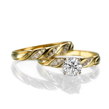 "Load image into Gallery viewer, 0.6 Carat 14K White Gold Moissanite & Diamonds ""Sharon"" Wedding Set"