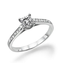 "Load image into Gallery viewer, 0.4 Carat 14K White Gold Moissanite ""Rebecca"" Engagement Ring - Diamonds Mine"