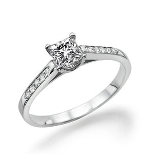 "0.4 Carat 14K White Gold Moissanite ""Rebecca"" Engagement Ring - Diamonds Mine"