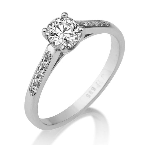 Round Moissanite and Diamond Engagement Ring - Diamonds Mine