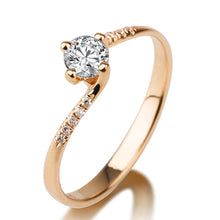 "Load image into Gallery viewer, 0.7 Carat 14K White Gold Moissanite & Diamonds ""Delphine"" Engagement Ring"
