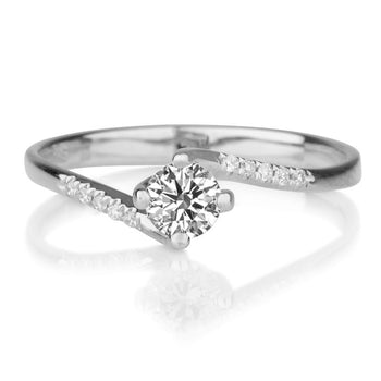 "0.3 TCW 14K White Gold Twist Diamond  ""Delphine"" Engagement Ring - Diamonds Mine"