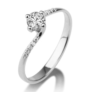 0.7 Carat 14K White Gold Moissanite & Diamonds