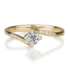 "Load image into Gallery viewer, 0.7 Carat 14K Rose Gold Moissanite & Diamonds ""Delphine"" Engagement Ring"