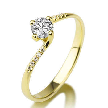 "0.5 Carat 14K Yellow Gold Moissanite ""Delphine"" Engagement Ring - Diamonds Mine"