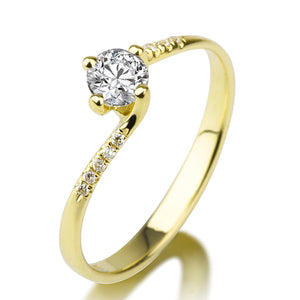 "0.7 Carat 14K White Gold Moissanite & Diamonds ""Delphine"" Engagement Ring 