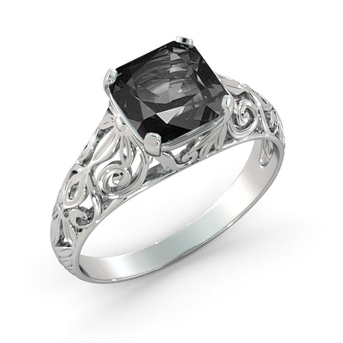 "2 Carat 14K White Gold Black Diamond ""Adele"" Engagement Ring - Diamonds Mine"
