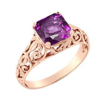 "2 Carat 14K Rose Gold Amethyst ""Adele"" Engagement Ring - Diamonds Mine"
