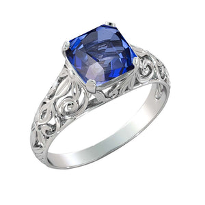 "2 Carat 14K White Gold Blue Sapphire ""Adele"" Engagement Ring - Diamonds Mine"