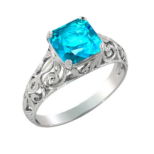 "2 Carat 14K White Gold Blue Topaz  ""Adele"" Engagement Ring - Diamonds Mine"