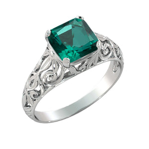 "2 Carat 14K White Gold Emerald ""Adele"" Engagement Ring - Diamonds Mine"