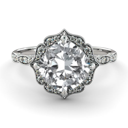 1.3 Carat 14K White Gold Moissanite & Diamonds