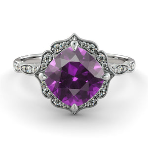 "1.25 Carat 14K Yellow Gold Amethyst & Diamonds ""Florence"" Engagement Ring"