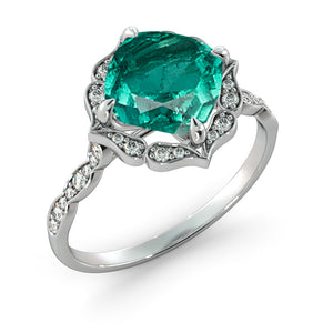 "1.25 Carat 14K Yellow Gold Emerald & Diamonds ""Florence"" Engagement Ring"
