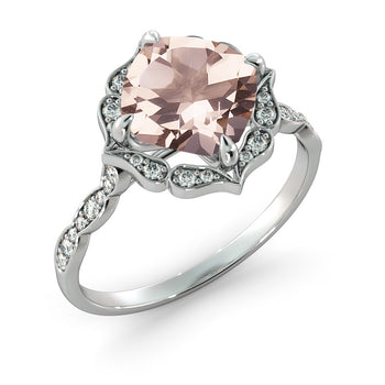 2.2 Carat 14K White Gold Morganite & Diamonds