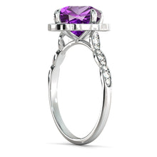 "Load image into Gallery viewer, 1.25 Carat 14K White Gold Amethyst & Diamonds ""Florence"" Engagement Ring"
