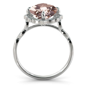 "2.2 Carat 14K White Gold Morganite & Diamonds ""Florence"" Engagement Ring"