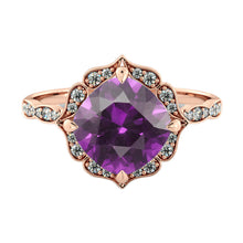 Load image into Gallery viewer, Flower Amethyst Engagement Ring - Diamonds Mine