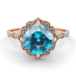 "1.25 Carat 14K White Gold Blue Topaz  & Diamonds ""Florence"" Engagement Ring 