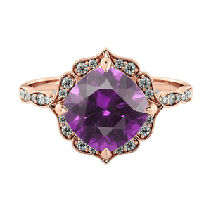 Flower Amethyst Engagement Ring - Diamonds Mine