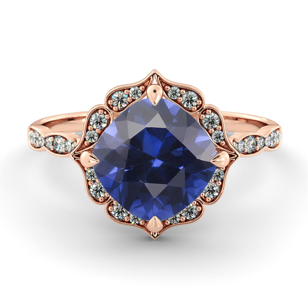 1.25 Carat 14K Rose Gold Blue Sapphire & Diamonds