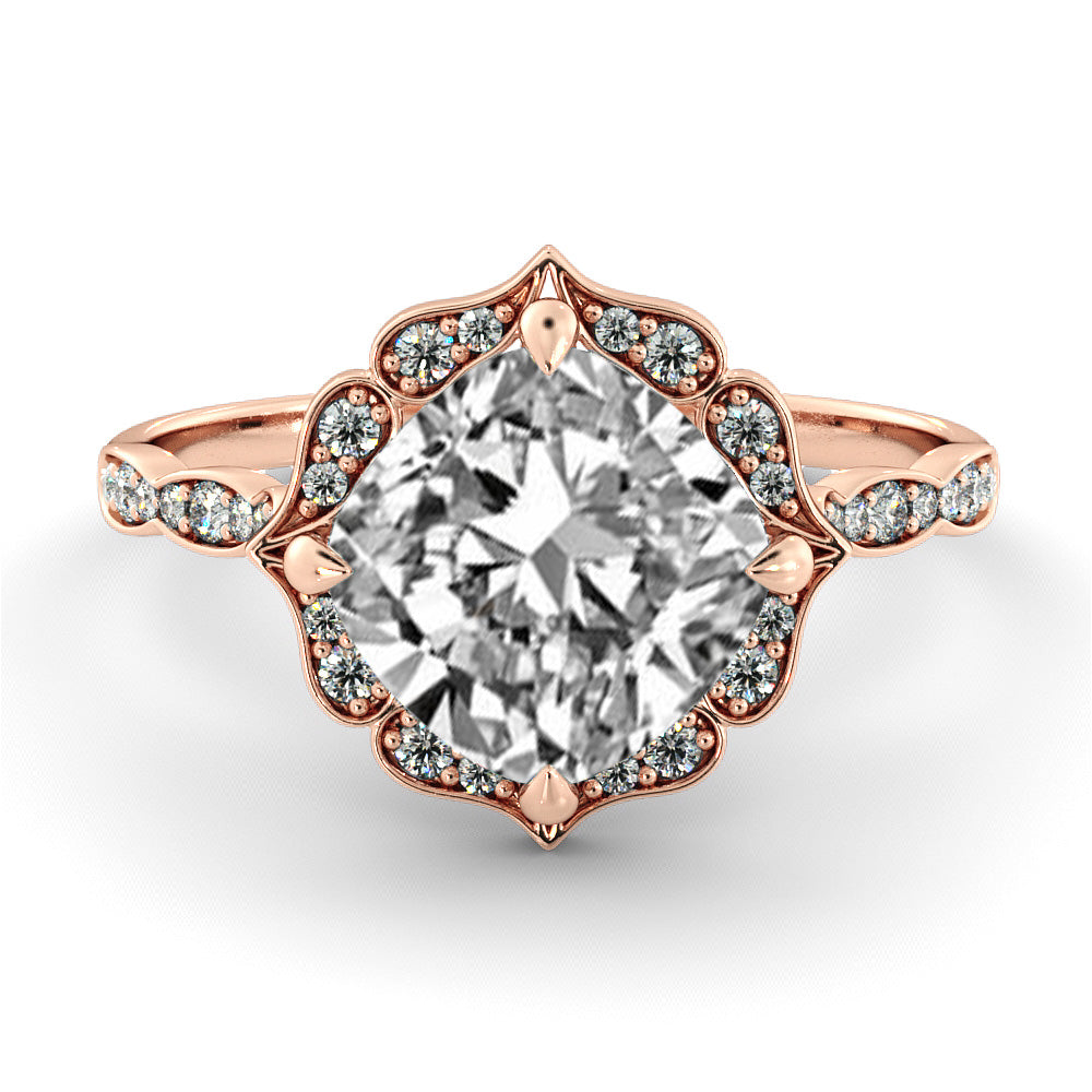 1.3 Carat 14K Rose Gold Moissanite & Diamonds
