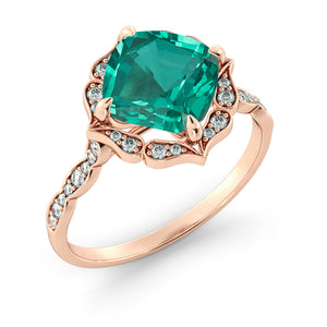 "1.25 TCW 14K Rose Gold Emerald ""Florence"" Engagement Ring"
