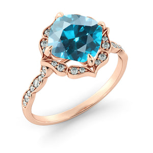 "1.25 Carat 14K Rose Gold Aquamarine & Diamonds ""Florence"" Engagement Ring"