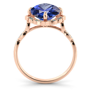 "1.25 Carat 14K White Gold Blue Sapphire & Diamonds ""Florence"" Engagement Ring"
