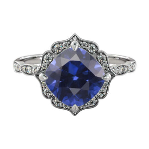 Blue Sapphire Flower Ring with Diamonds - Diamonds Mine