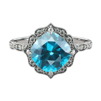 1.25 Carat 14K White Gold Blue Topaz  & Diamonds
