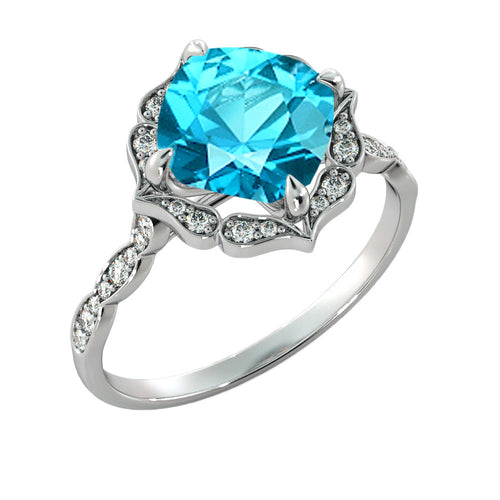 Flower Aquamarine Ring with Diamonds - Diamonds Mine