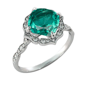 Emerald Engagement Ring with Flower Diamond Halo - Diamonds Mine
