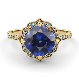 "1.25 Carat 14K Rose Gold Blue Sapphire & Diamonds ""Florence"" Engagement Ring"