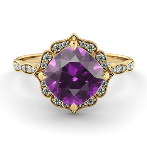 "1.25 Carat 14K White Gold Amethyst & Diamonds ""Florence"" Engagement Ring"