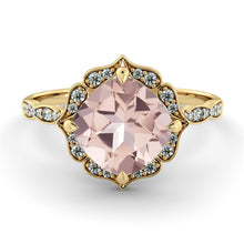 "Load image into Gallery viewer, 2.2 Carat 14K Rose Gold Morganite & Diamonds ""Florence"" Engagement Ring"