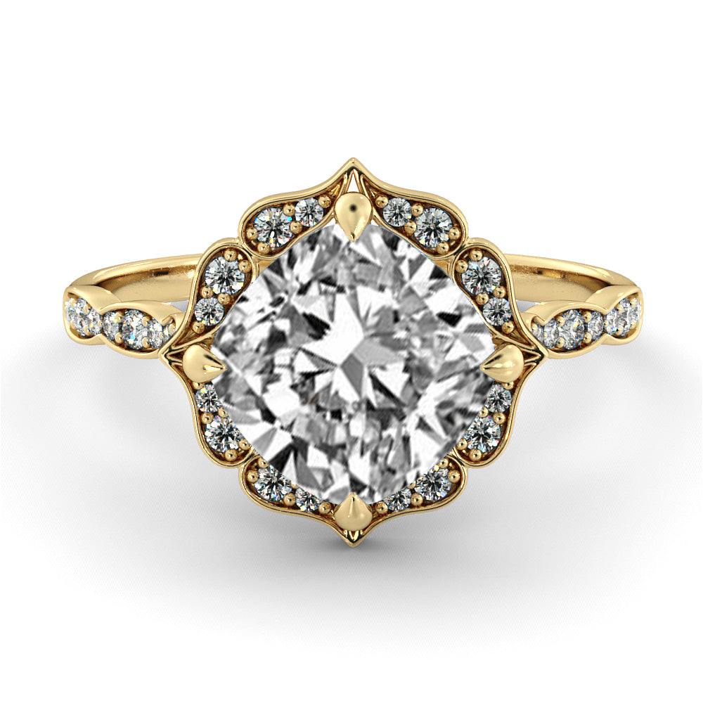 1.3 Carat 14K Yellow Gold Moissanite & Diamonds