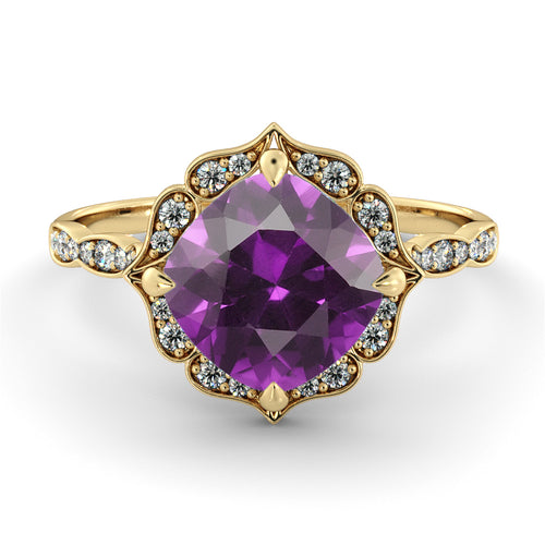 1.25 Carat 14K Yellow Gold Amethyst & Diamonds