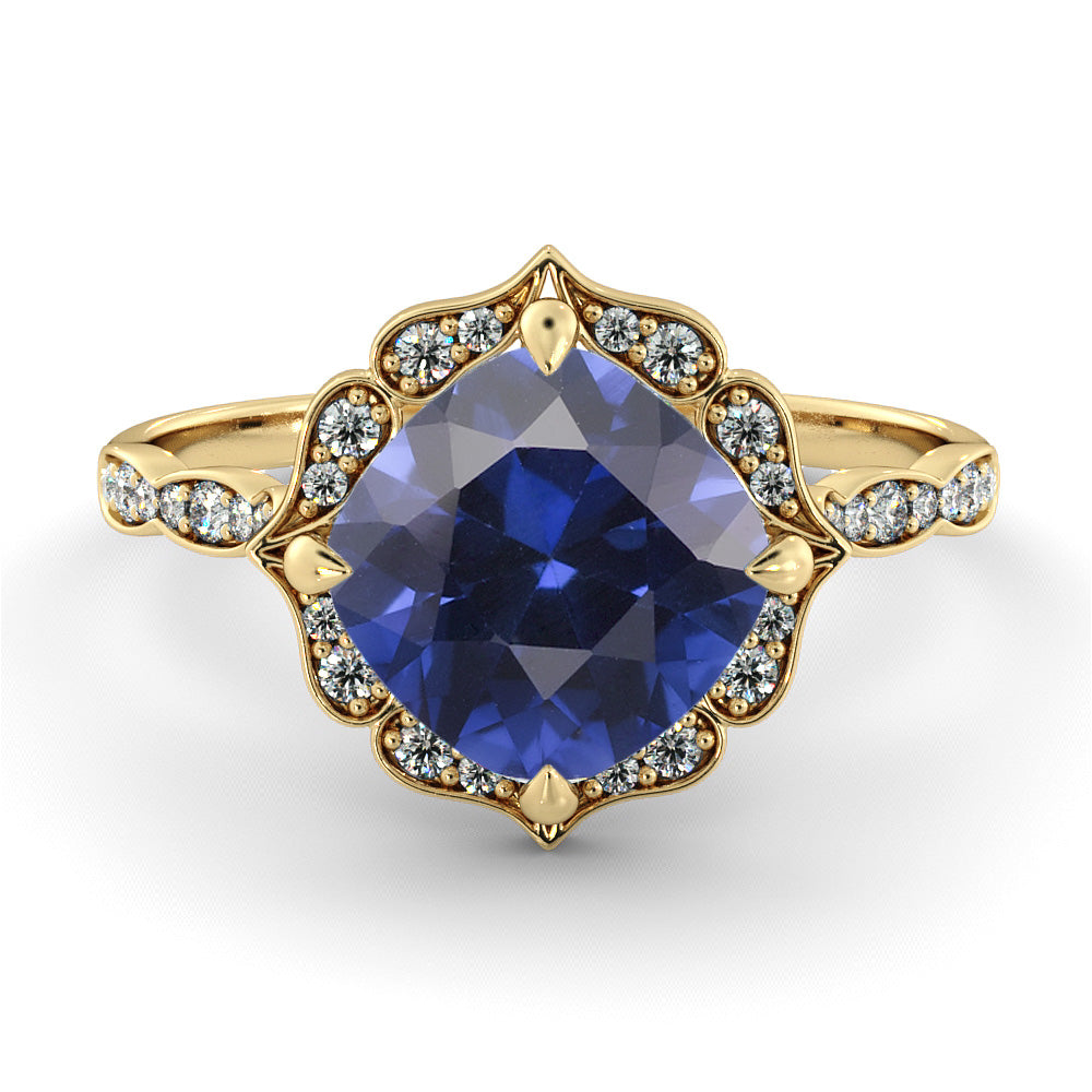 1.25 Carat 14K Yellow Gold Blue Sapphire & Diamonds