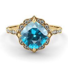 "Load image into Gallery viewer, 1.25 Carat 14K White Gold Blue Topaz  & Diamonds ""Florence"" Engagement Ring 