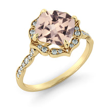 "Load image into Gallery viewer, 2.2 Carat 14K Rose Gold Morganite & Diamonds ""Florence"" Engagement Ring 