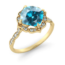 "Load image into Gallery viewer, 1.25 Carat 14K Yellow Gold Blue Topaz & Diamonds ""Florence"" Engagement Ring"