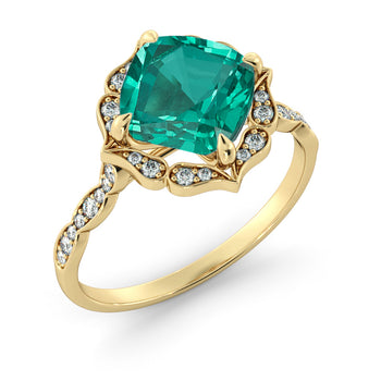 1.25 Carat 14K Yellow Gold Emerald & Diamonds