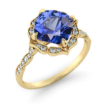 "Load image into Gallery viewer, 1.25 Carat 14K White Gold Blue Sapphire & Diamonds ""Florence"" Engagement Ring"