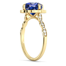 "Load image into Gallery viewer, 1.25 Carat 14K Rose Gold Blue Sapphire & Diamonds ""Florence"" Engagement Ring"