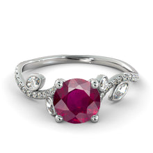 "Load image into Gallery viewer, 2 Carat 14K White Gold Ruby ""Lucia"" Engagement Ring - Diamonds Mine"