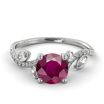 "2 Carat 14K White Gold Ruby ""Lucia"" Engagement Ring - Diamonds Mine"