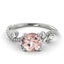 "Load image into Gallery viewer, 2 Carat 14K White Gold Morganite ""Lucia"" Engagement Ring - Diamonds Mine"